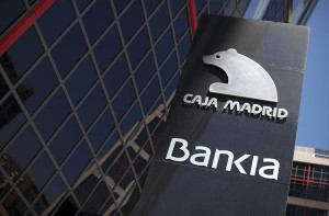 File photo of a sign of Spain's Bankia bank outside its headquarters in Madrid