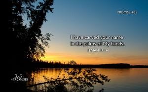 Ik heb uw naam gegraveerd in de palmen van Mijn handen