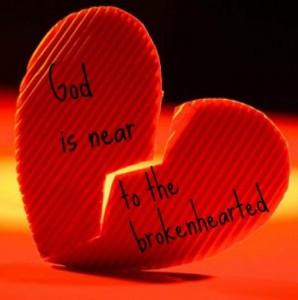 de Here is nabij de gebrokenen van hart Psalm 34, vers 19