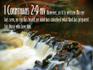 1 Corinthians 2, verse 9 No eye has seen