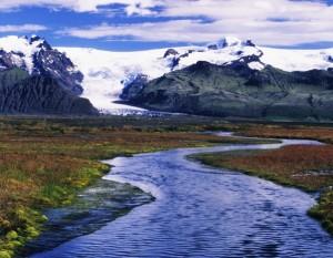 Vatnajoekull Glacier and glacial stream, Iceland, Atlantic Ocean