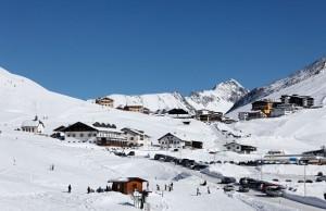 Skiing resort Kuehtai-Sattel, village Kuehtai, Stubai Alps, Tyrol, Austria