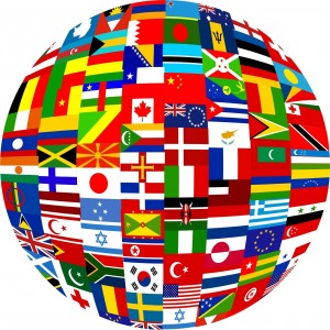 Flags countries languages globe