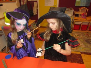 children playing witches in school